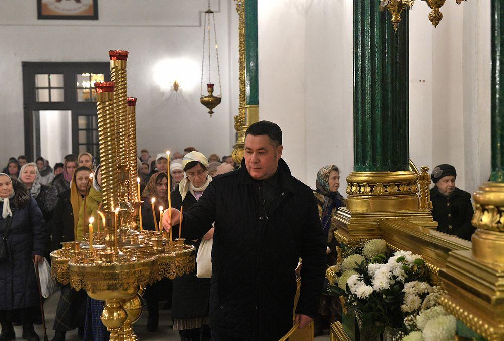 Игорь Руденя встретил праздник Крещения Господня вместе с прихожанами Нило-Столобенской пустыни