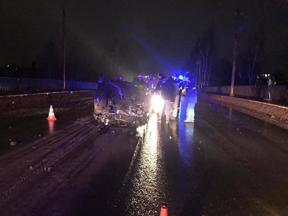 В Кимрах на мосту перевернулся автомобиль