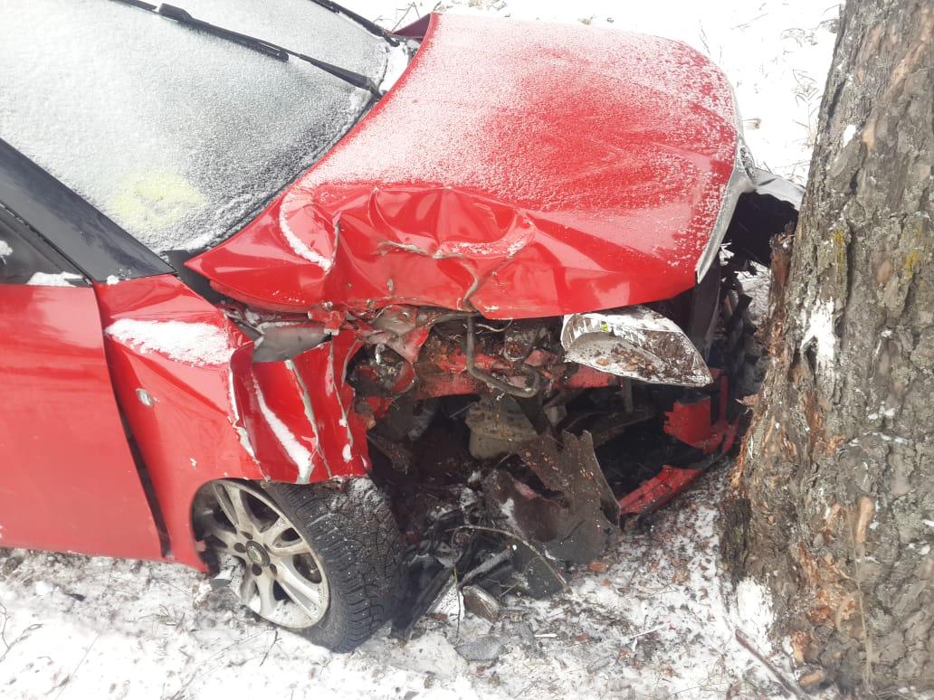 Иномарка на выезде из Твери разбилась о дерево