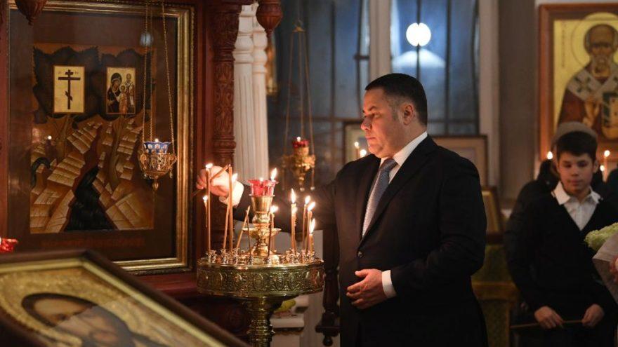 Игорь Руденя встретил Рождество в кафедральном соборе в честь иконы Божией Матери Оковецкая в Ржеве