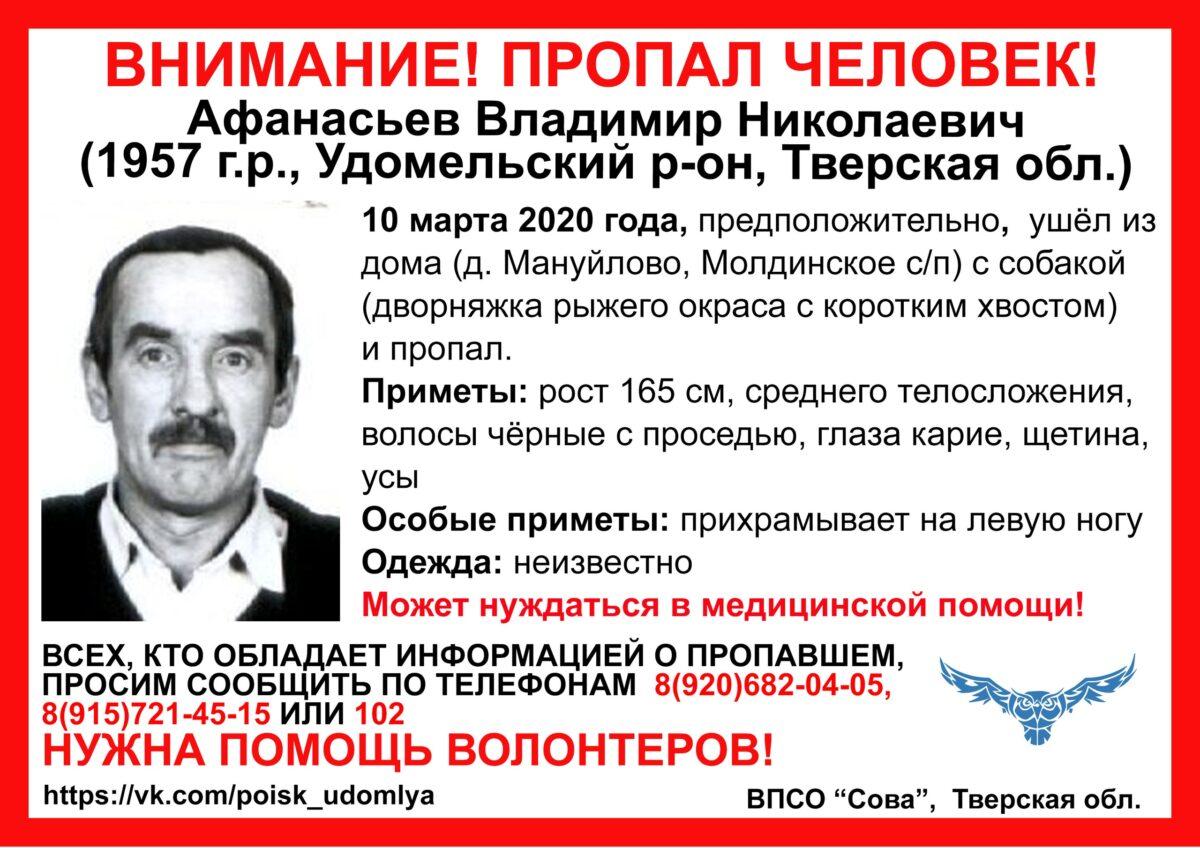 Пожилой мужчина с рыжей собакой пропал в Тверской области