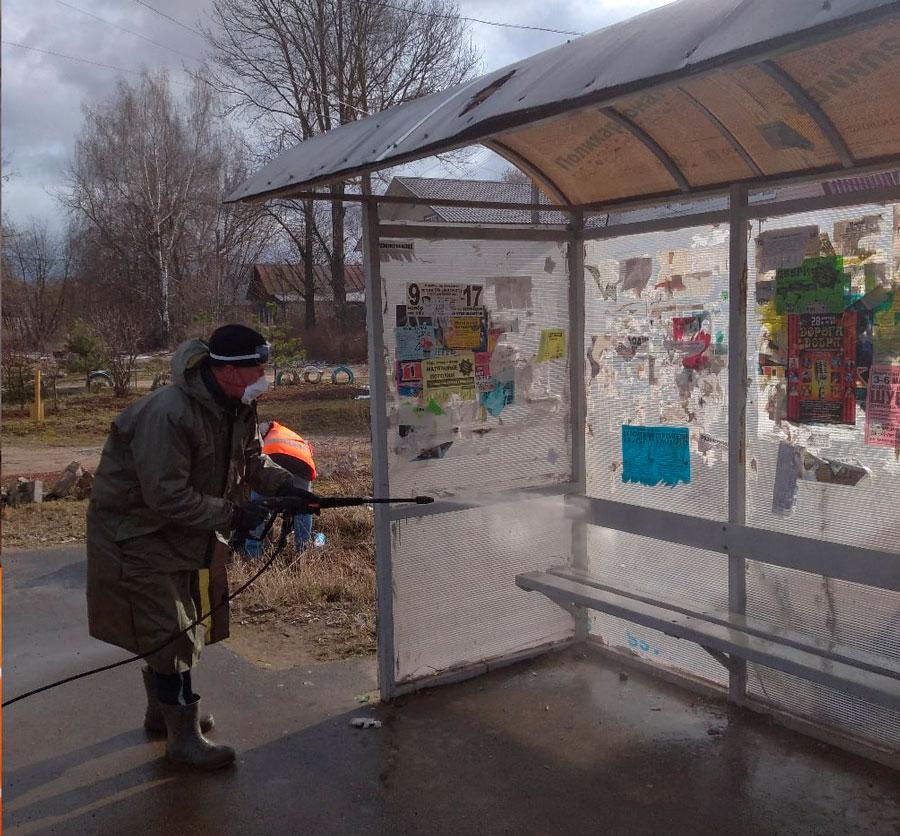 В Тверской области дезинфицируют остановки