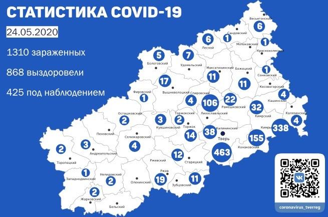 Опубликованы данные по заболеваемости коронавирусом в районах Тверской области на 24 мая