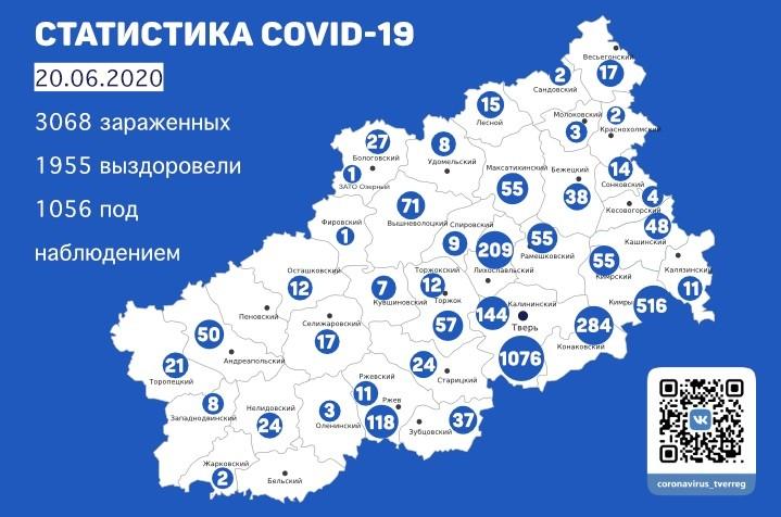 1955 выздоровевших: статистика по коронавирусу в Тверской области на 20 июня