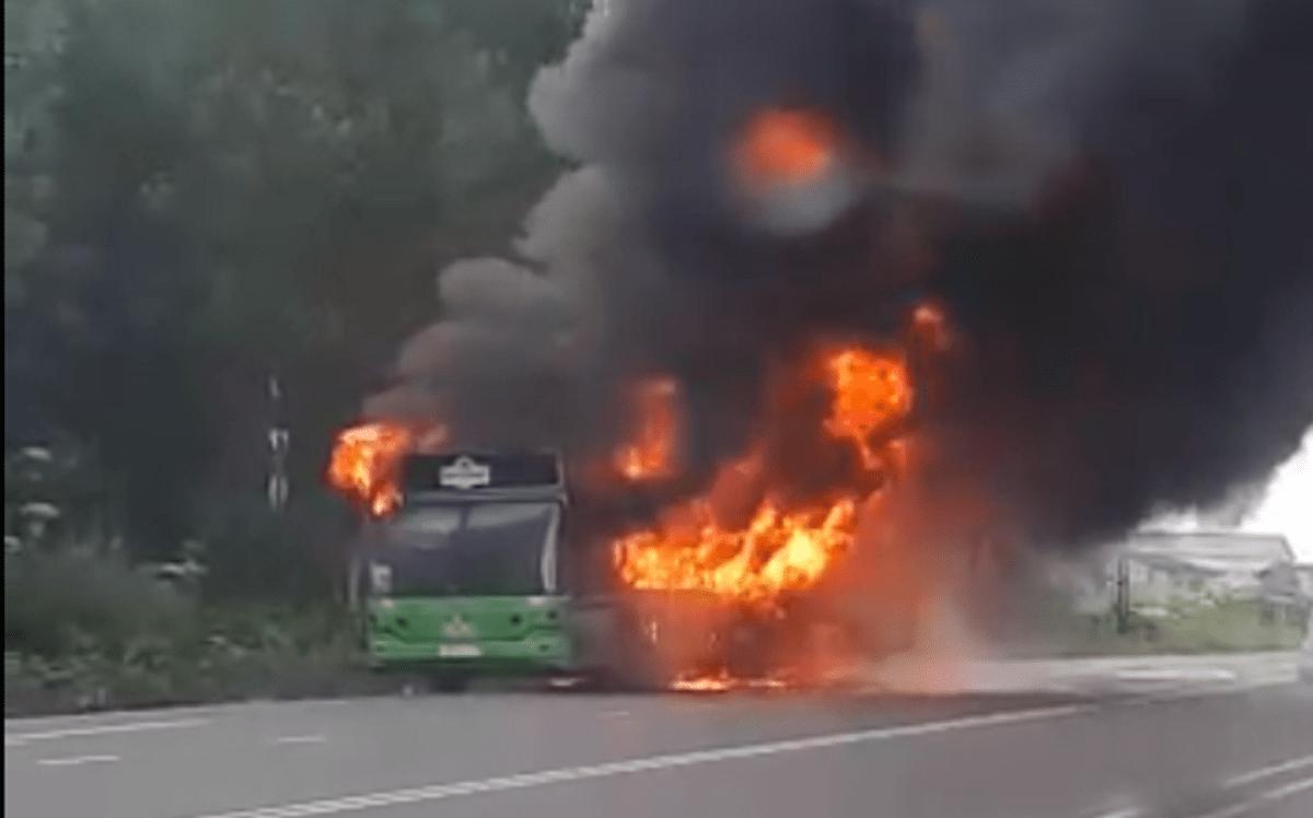 Пассажирский автобус вспыхнул на дороге в Тверской области