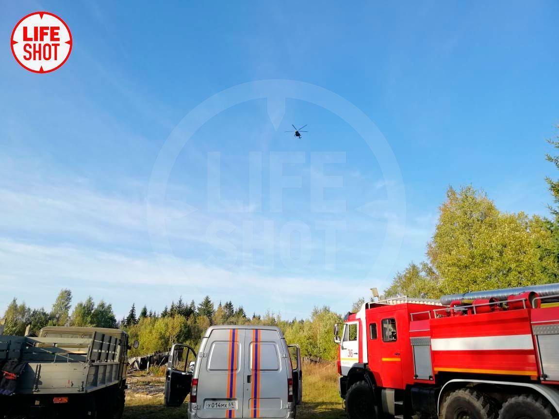Опубликовано видео с места крушения Су-30 в Тверской области