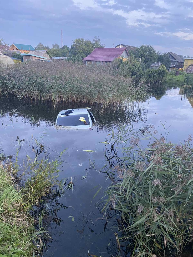 Женщина перепутала педали и утопила иномарку в пруду под Тверью