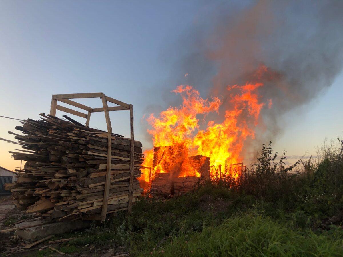 В Тверской области вспыхнула пилорама