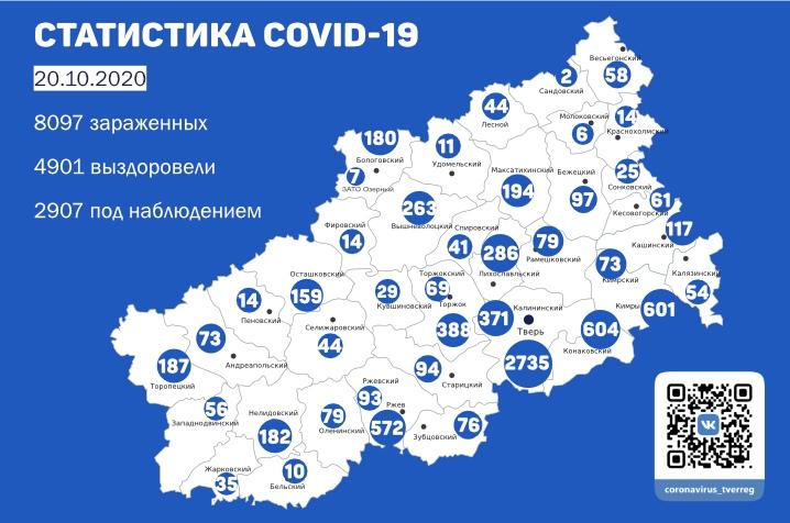 Коронавирус в Тверской области 20 октября: подтверждено 109 новых случаев