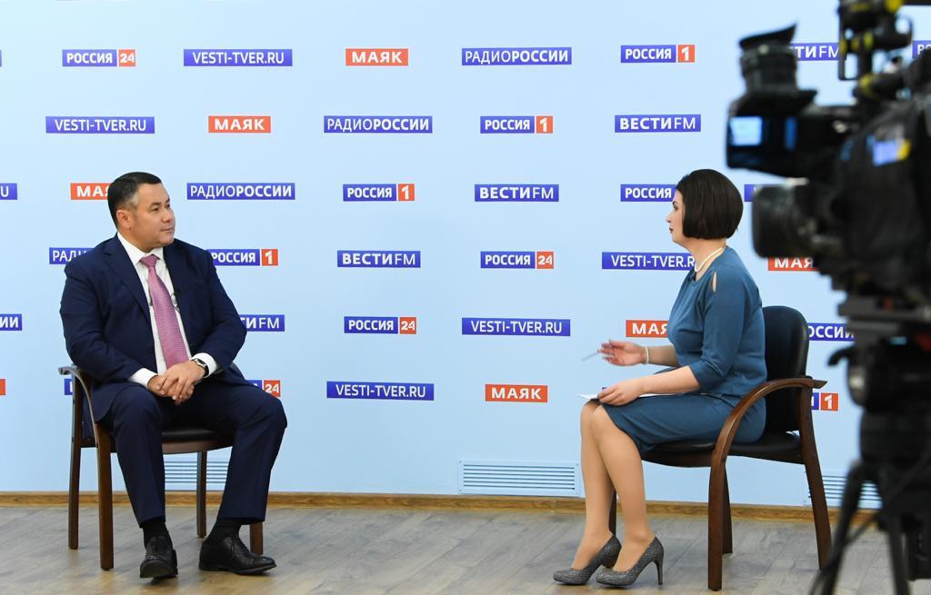 Игорь Руденя ответил на актуальные вопросы в прямом эфире телеканала «Россия 24» Тверь