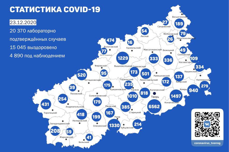 235 новых случаев заражения коронавирусом подтвердили в Тверской области