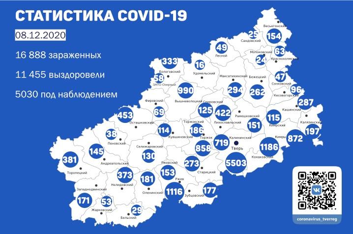 221 новый случай коронавируса выявили в Тверской области к 8 декабря