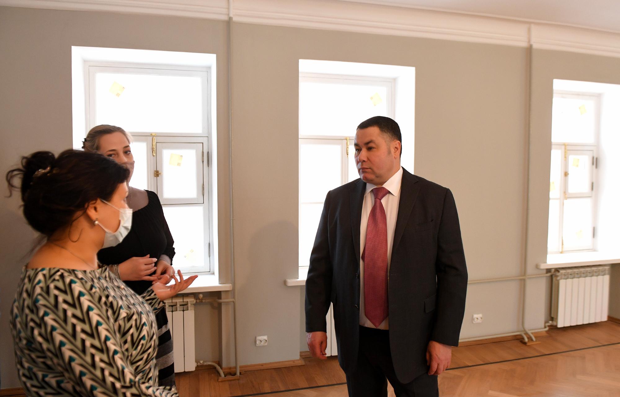 Игорь Руденя проинспектировал реставрацию музея Салтыкова-Щедрина в Твери