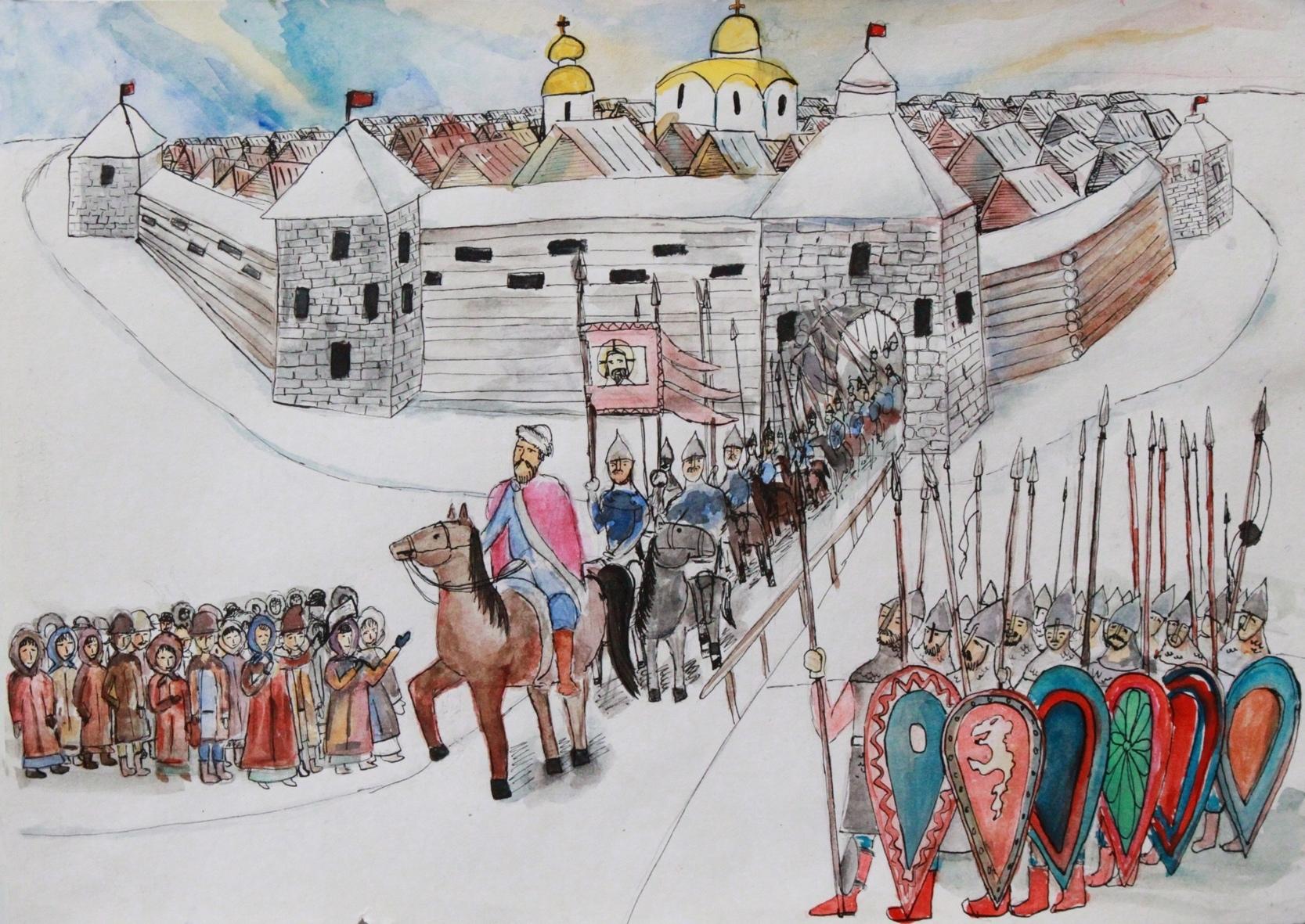 В Тверской области появился баннер Михаилу Ярославичу с рисунками детей