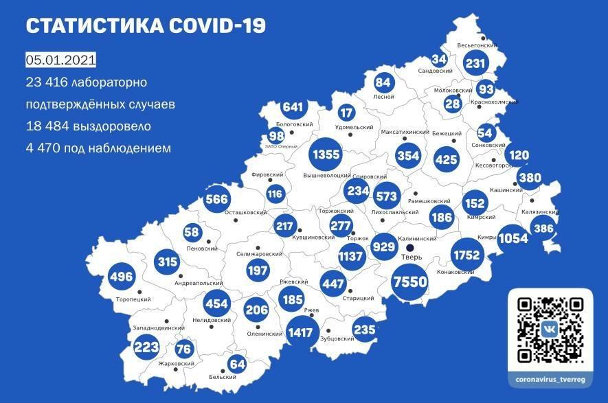 226 новых случаев коронавируса выявили в Тверской области к 5 января