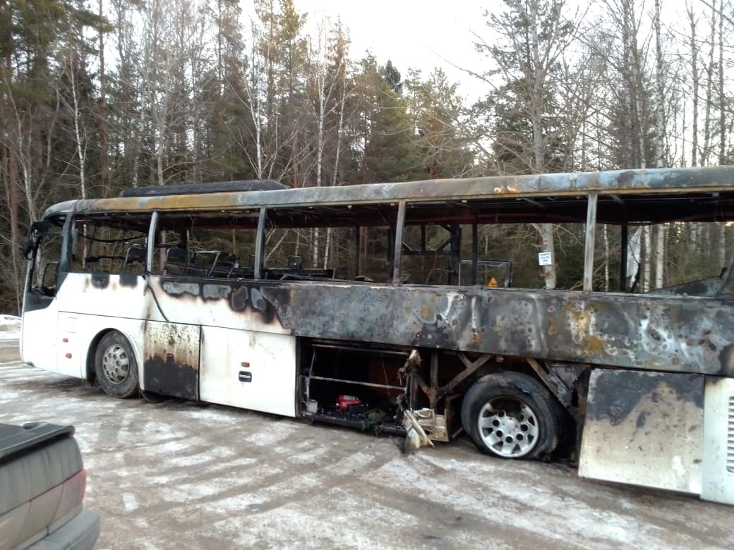 В Тверской области на ходу загорелся рейсовый автобус
