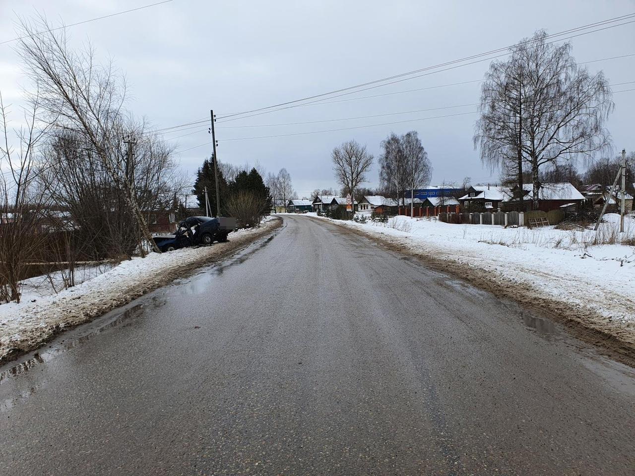 Легковушка по неизвестным причинам влетела в дерево в Тверской области