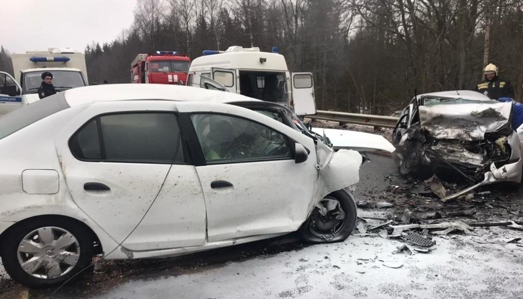 Два человека пострадали в лобовом столкновении на трассе в Тверской области