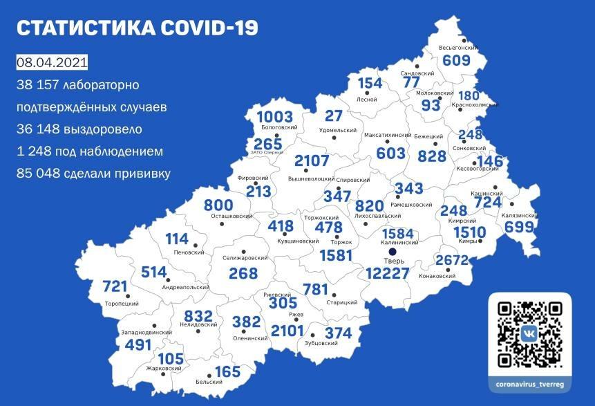 93 новых случая коронавируса подтвердили за сутки в Тверской области