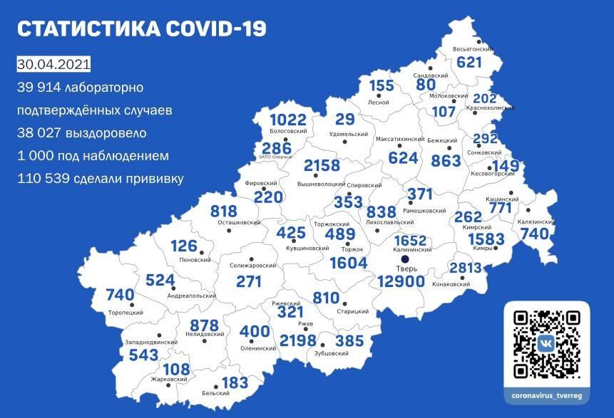 Коронавирус в Тверской области 30 апреля: ещё 70 человек заразились
