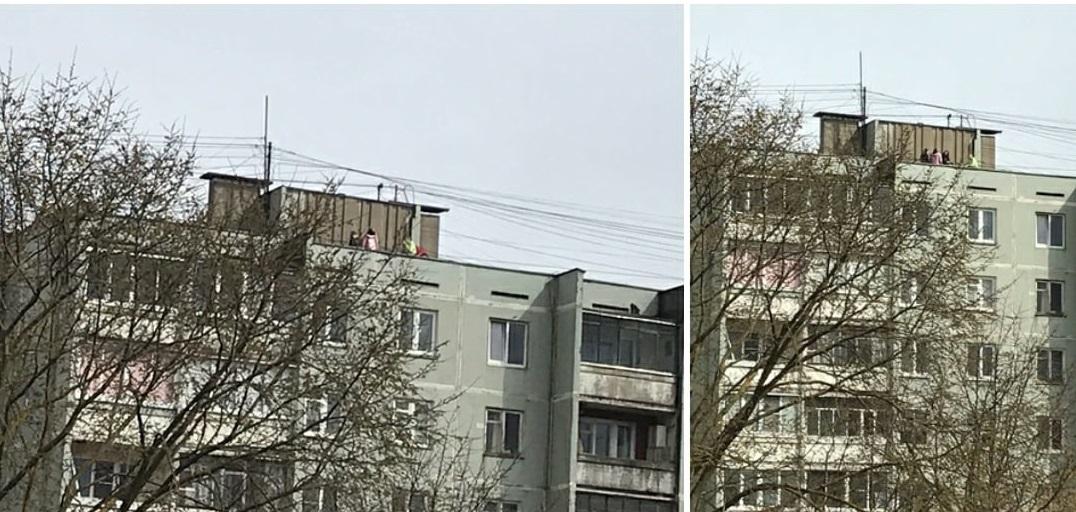 В Твери на бульваре Ногина школьники ходят по краю крыши девятиэтажки