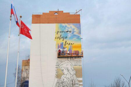 По ночам художники рисуют 25-метровое граффити на доме в Тверской области