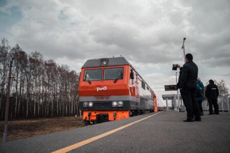 В Тверской области на новой станции «Ржевский мемориал» встретили первую «Ласточку» из Москвы