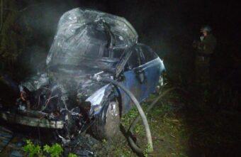 В Тверской области погиб пассажир иномарки, которая вылетела в кювет и загорелась