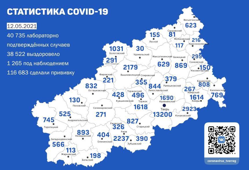 Коронавирус в Тверской области 12 мая: ещё 69 человек заразились