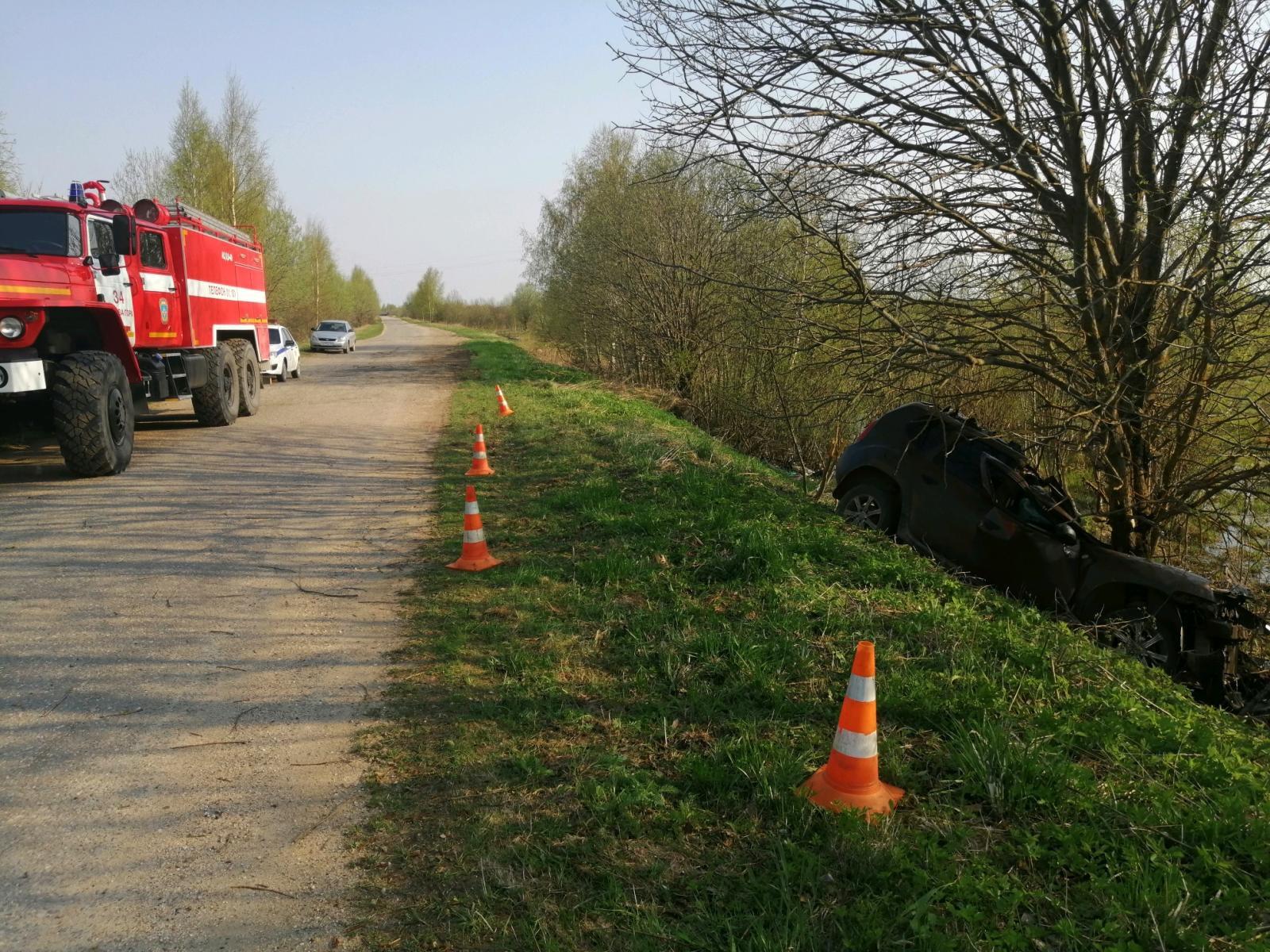 На дороге в Тверской области водитель врезался в дерево и погиб