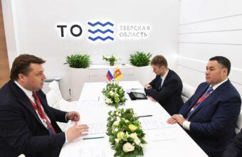 ПМЭФ-2021: Губернатор Игорь Руденя и генеральный директор Росагролизинга Павел Косов обсудили вопросы сотрудничества по развитию льноводства