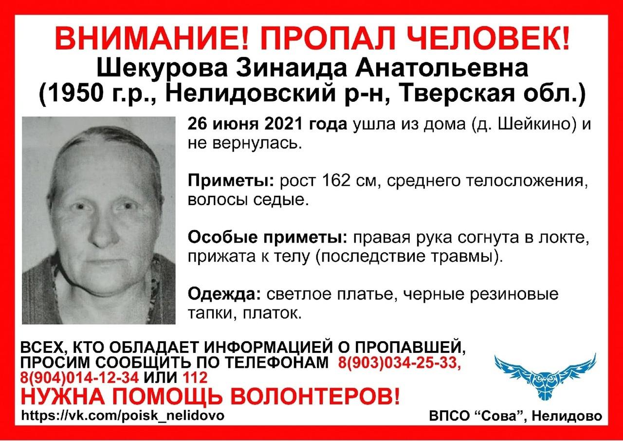 Водителей просят помочь в поисках 71-летней женщины в Тверской области