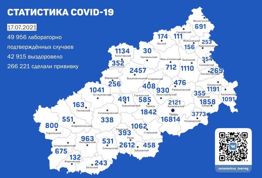 Ещё 269 жителей Тверской области заразились коронавирусом к 17 июля