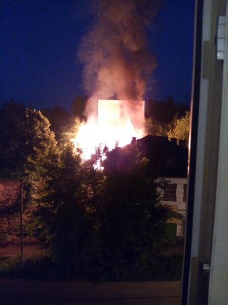 Ночью жители Тверской области увидели из окон пожар