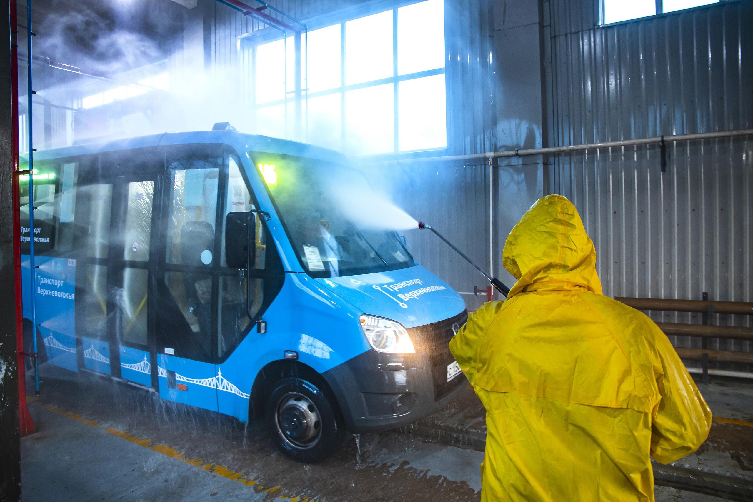 Общественный транспорт в Тверской области обрабатывают несколько раз в день