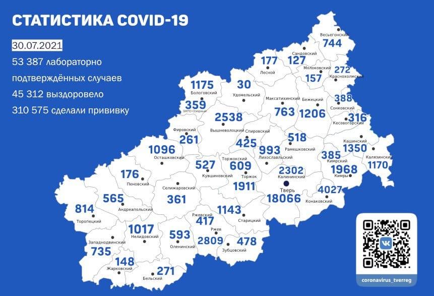 Коронавирус в Тверской области 30 июля: ещё 256 человек заразились