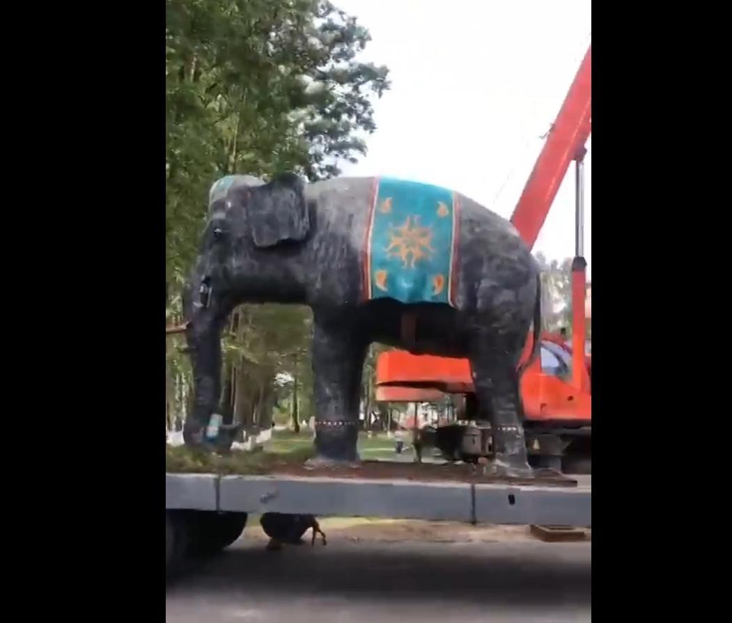 В Тверской области на улице города появился четырёхметровый слон: видео